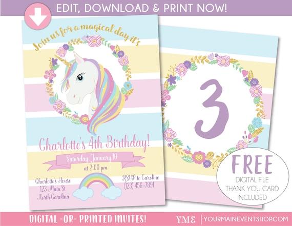 unicorn invitation unicorn party invite magical rainbow unicorn