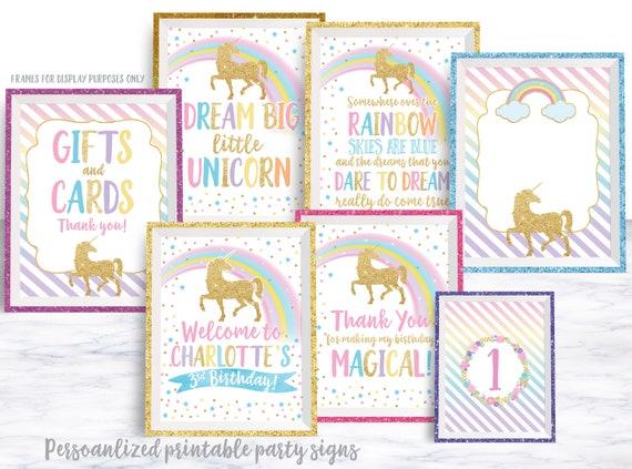 Unicorn Party Signs, Unicorn Birthday Party Decorations, Centerpiece