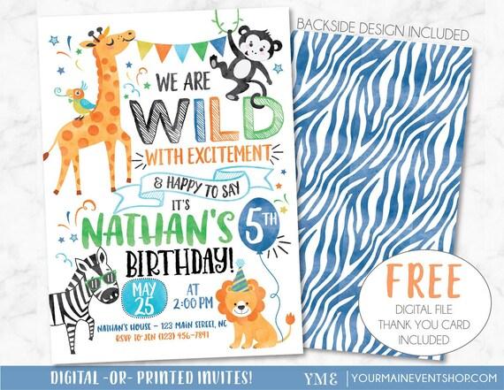 Printable Birthday Invitation Party Animals Jungle Safari Zoo Digital Invite