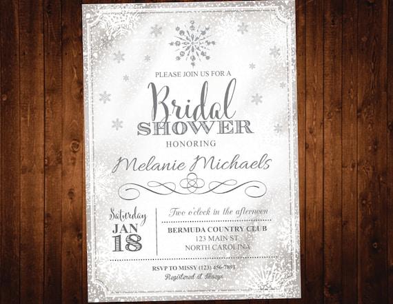 Winter Snowflake Bridal Shower Invitation - Printable Wonderland Bridal Invite - Christmas Bridal Shower