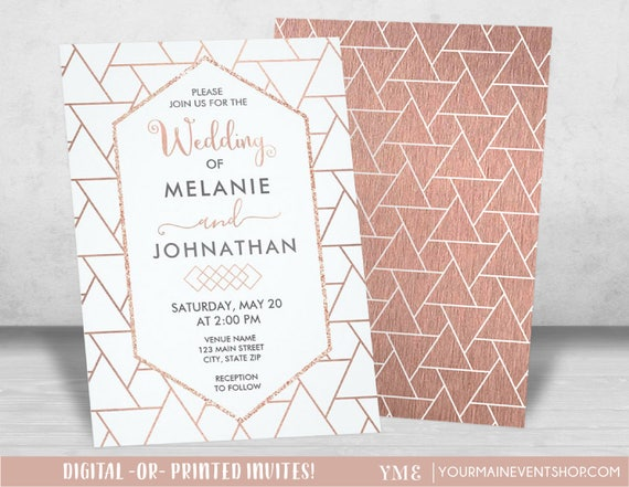 Modern Geometric Rose Gold Wedding Invitations, Printable Wedding Invite