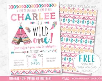 Wild One Birthday Invitation • Girl Tribal TeePee Arrow Feathers Pow Wow Invite Printable • Pink Boho Wild and Free Thank You Card