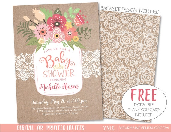 Baby Shower Invitation, Rustic Country Kraft and Lace Mason Jar Baby Shower Invite Printable, Girl Spring Summer Floral, Baby BBQ