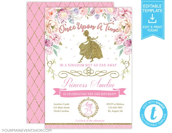 Princess Birthday Invitation Royal Floral Gold