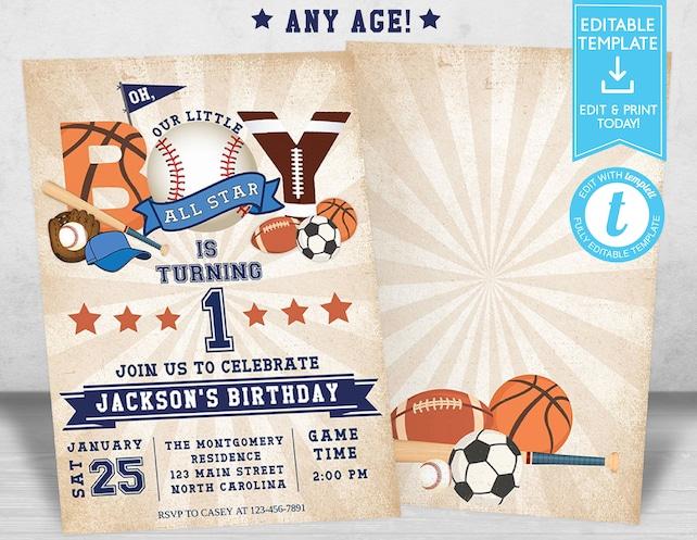 Sports Birthday Invitation Baseball Football Basketball Boy All Star Editable Template Templett