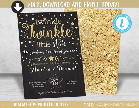 twinkle twinkle little star baby shower invitation neutral twinkle
