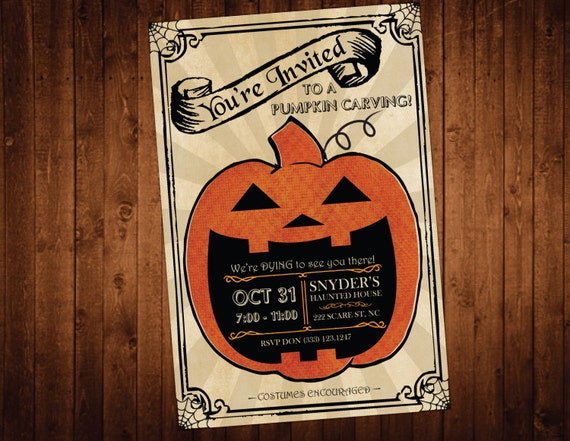 Pumpkin Carving Party Invitation / Personalized Halloween Party Invitations / Halloween Invite / Halloween Bash / Costume Party