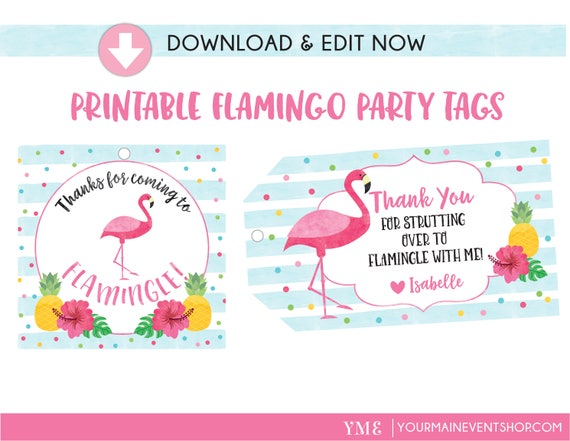 Flamingo Birthday Tags, Flamingle Favor Tags, Flamingo Summer Luau Party, Personalized Edit Yourself Instant Download