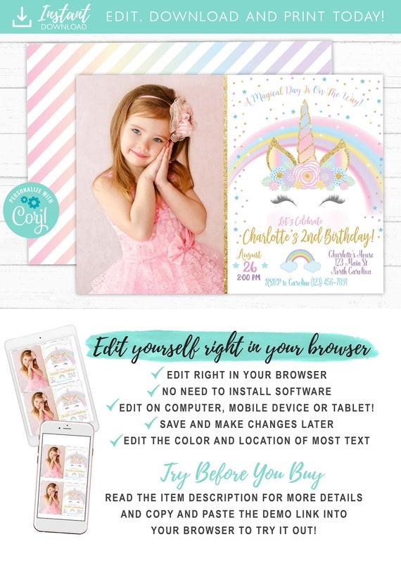 photograph about Unicorn Eyelashes Printable named Unicorn Image Invitation, Unicorn Birthday Celebration Invite