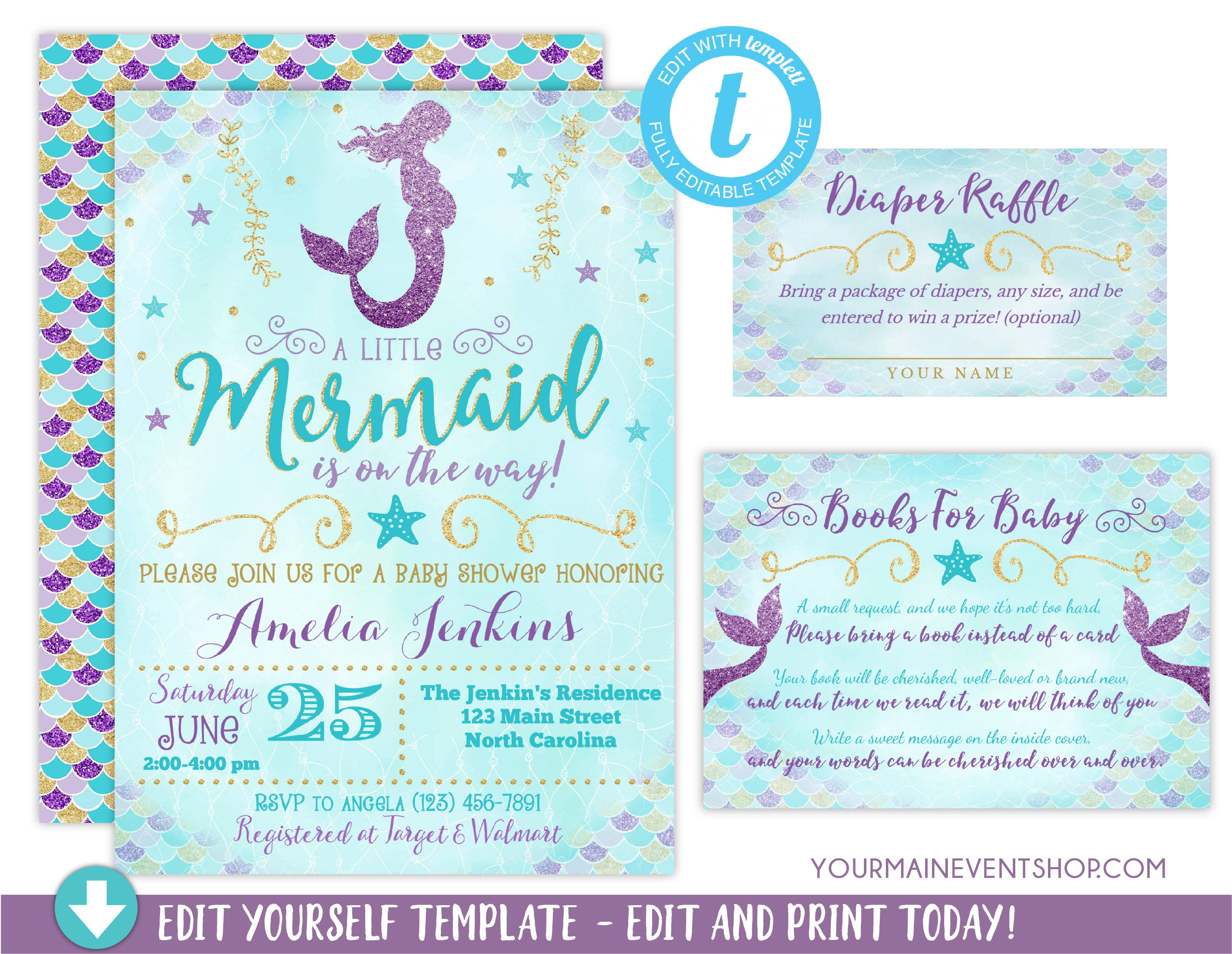 Mermaid Baby Shower Invitation, Girl Mermaid Purple Blue Gold Baby ...