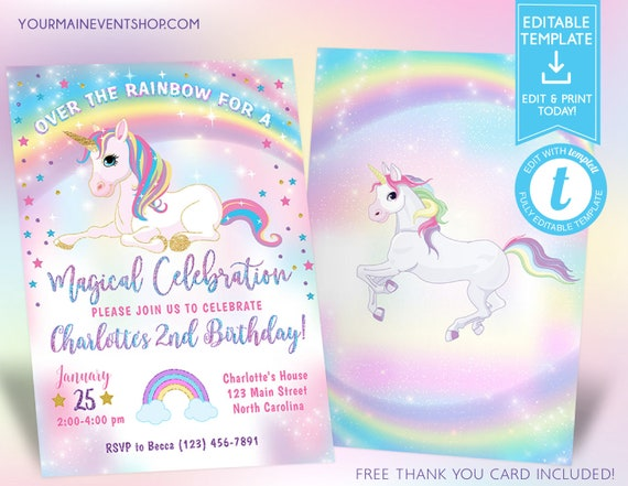 Unicorn Birthday Invitation Party Invite Rainbow