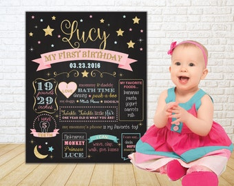 Twinkle Twinkle Little Star Birthday Poster | 1st Year Birthday Chalkboard Poster | First Birthday Star Printable Poster