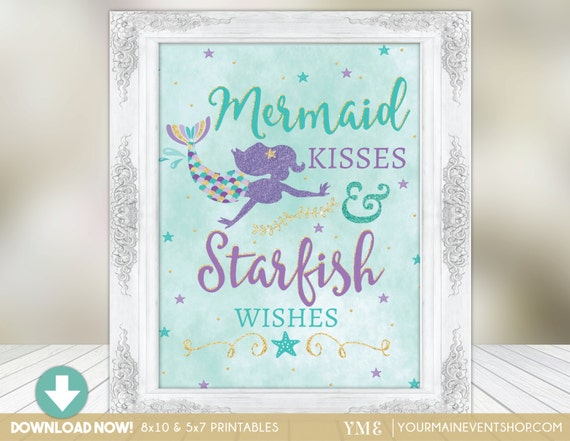 Mermaid Party Sign • Mermaid Kisses & Starfish Wishes Centerpiece Birthday Party Sign • Under The Sea Instant Download Printable