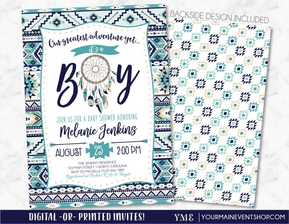 Tribal Boy Baby Shower Invitation, Boho Arrows and Dreamcatcher Baby Shower Invitation, Bohemian Baby Shower Invite, It's a boy