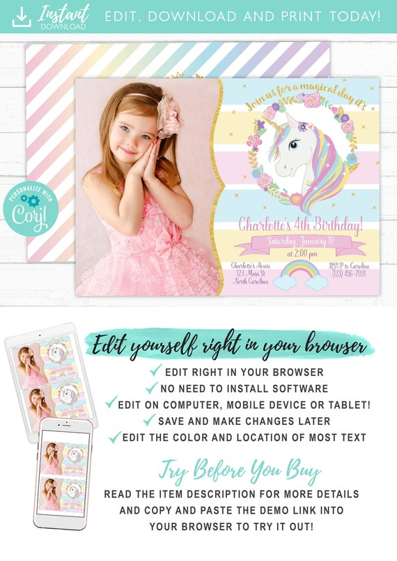 Unicorn Invitation Unicorn Party Invite Magical Rainbow Unicorn Birthday Invitation Printable With Photo Free Thank You Card