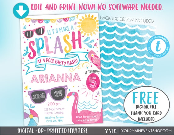 Pool Party Invitation, Pool Party Birthday Invite, Summer Pool Party Bash Printable Invitation, Swimming Party, Flamingo, Splash Pad Party