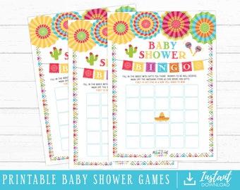 Bingo Fiesta Baby Shower Games Instant Download Printable