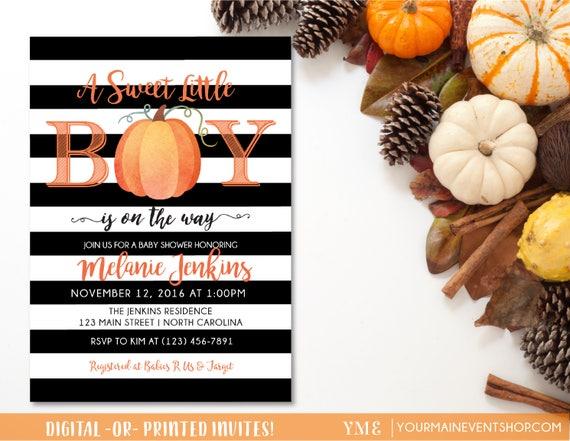 Little Boy Pumpkin Baby Shower Invitation • Fall Autumn A Little Pumpkin Is On The Way Baby Shower Invite •  BS-F-02