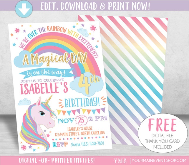 image relating to Printable Unicorn Invitations identified as Unicorn Invitation, Rainbow Invitation, Magical Invitation