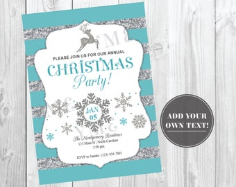Christmas Party Invitation / Holiday Party Invite / Silver Glitter, Snowflake, Winter / Instant Download