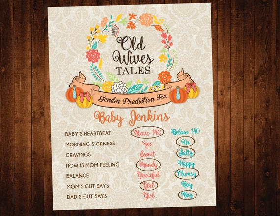 Pumpkin Fall Gender Prediction Old Wives Tale Printable Sign
