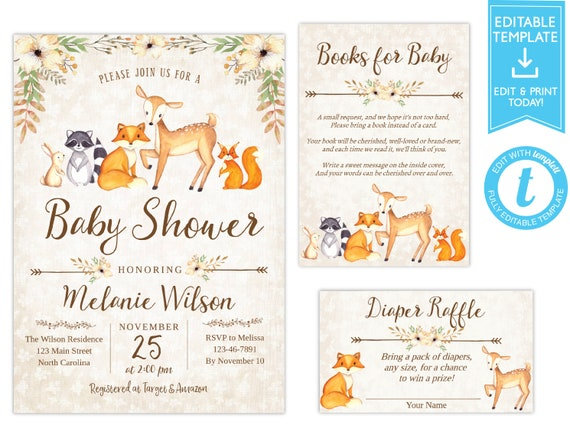 Woodland Baby Shower Invitation Deer Baby Shower Invite Fox Baby Shower Editable template, Instant Download Diaper Raffle Book Request Card