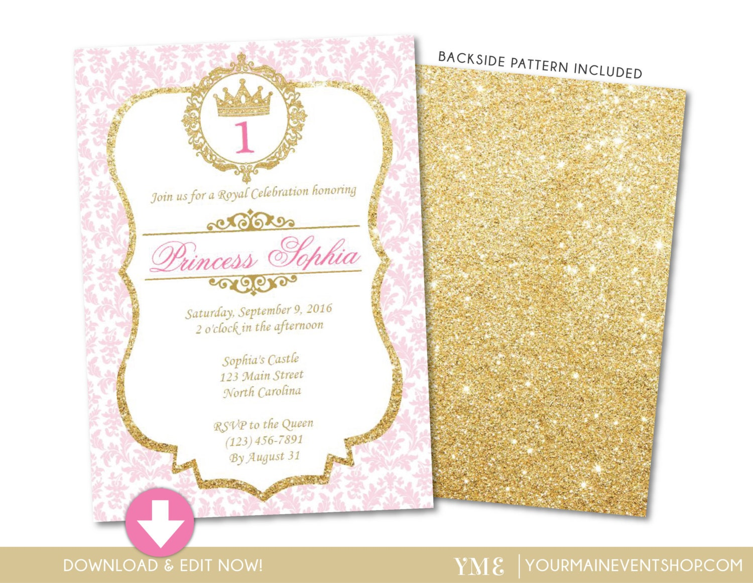 Princess Birthday Invitation Pink And Gold Invite