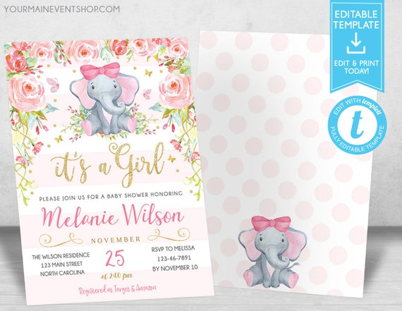 Elephant Baby Shower Invitation Girl Elephant Baby Shower Pink Floral Baby Shower Invite It's a Girl Templett Template DIY Instant Download