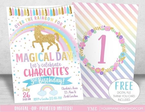 Unicorn Birthday Invitation, Unicorn Party, Rainbow Invitation, Rainbow Birthday Invite Printable, Unicorn Party Invite