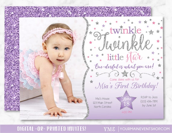 Twinkle Twinkle Little Star Birthday Invitation, Purple, Pink and Silver Twinkle Twinkle Invite With Photo, First Birthday, 1st Birthday