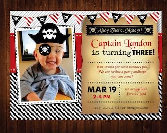 Pirate Birthday Invitation, Personalized Pirate Birthday Party Invites