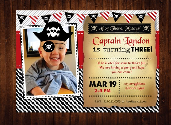 Pirate Birthday Invitation, Personalized Pirate Birthday Party Invites