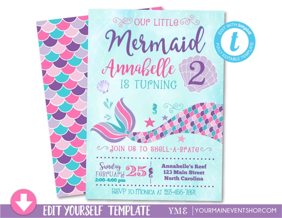 mermaid birthday invitation pink purple teal mermaid invitation