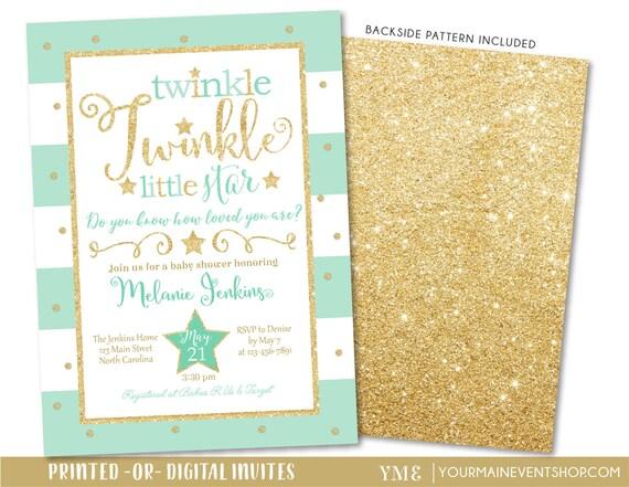 Mint twinkle twinkle little star baby shower invitation etsy image 0 filmwisefo