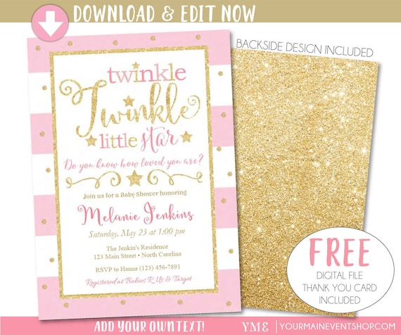 Revered image throughout free printable twinkle twinkle little star baby shower invitations