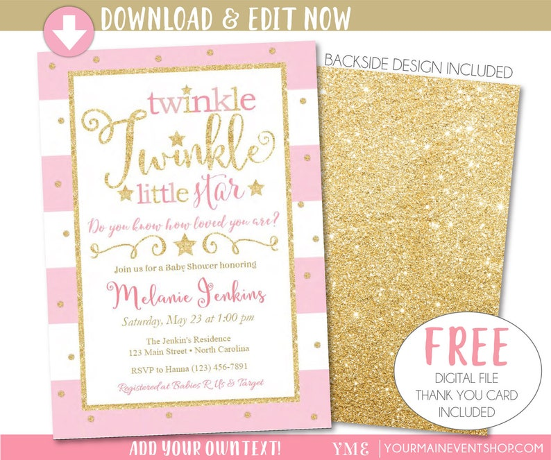 graphic about Free Printable Twinkle Twinkle Little Star Baby Shower Invitations titled Twinkle Twinkle Minimal Star Kid Shower Invitation, Twinkle Twinkle Very little Star Invitation, Red and Gold Printable Invite, Thank Yourself Card