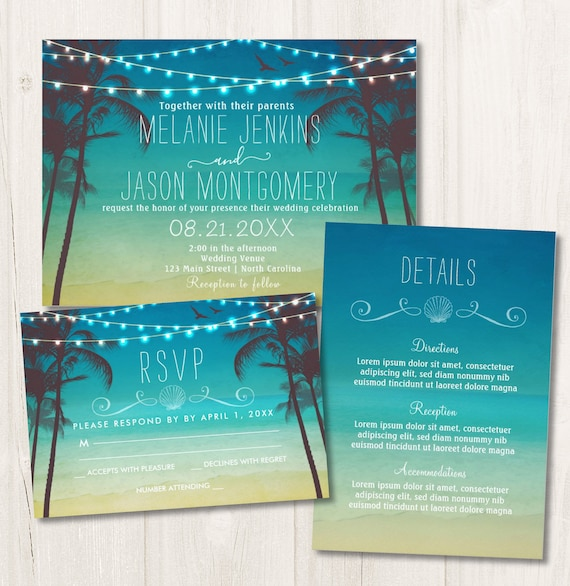 Tropical Beach Palm Tree Wedding Invitations and RSVP Cards, Tropical Beach Destination Wedding Invite