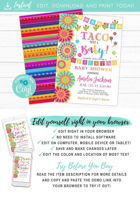 Taco Bout A Baby Fiesta Baby Shower Invitation Neutral