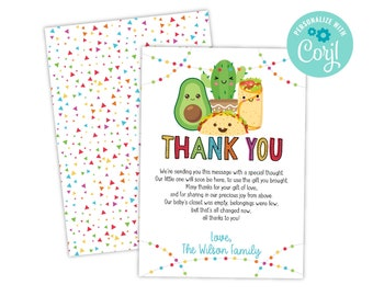 Fiesta Taco Bout A Baby Shower Thank You Card, Drive By Virtual Zoom Evite Invite, DIY Instant Download Template