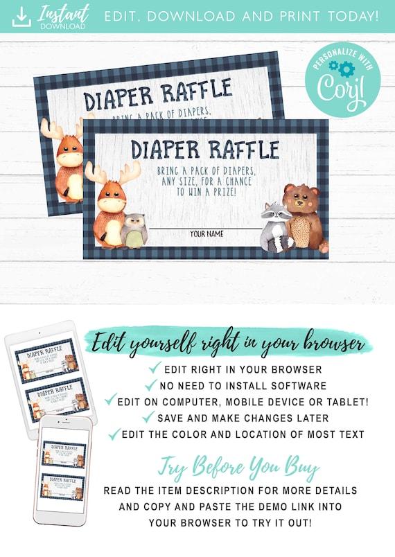 Woodland Diaper Raffle Card Boy Bear Forest Animals Diaper
