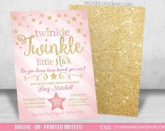 Twinkle Twinkle Little Star Baby Shower Invitation, Twinkle Twinkle Shower Invitation, Pink and Gold Star Invite, Girl Baby Shower • BS-T-01