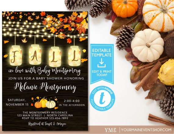 Rustic Fall Pumpkin Baby Shower Invitation, Fall Baby Shower, Little Pumpkin, Autumn Baby Shower, Editable template, Instant Download