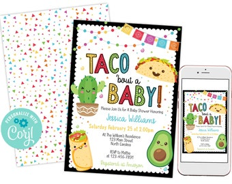 Fiesta Taco Bout A Baby Shower Invitation, Drive By Virtual Zoom Evite Invite, DIY Instant Download Template