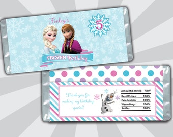 Frozen Candy Bar Wrapper - Elsa Anna Olaf Candy Bar Wrapper - Birthday Candy Bar Wrapper