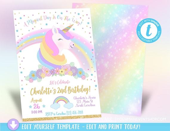 Unicorn Birthday Invitation Magical