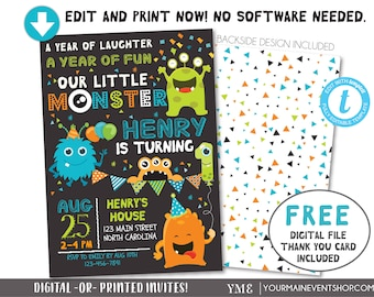 Monster Invitation, Monster Birthday Invitation, Monster Party, Little Monster First Birthday, 1st