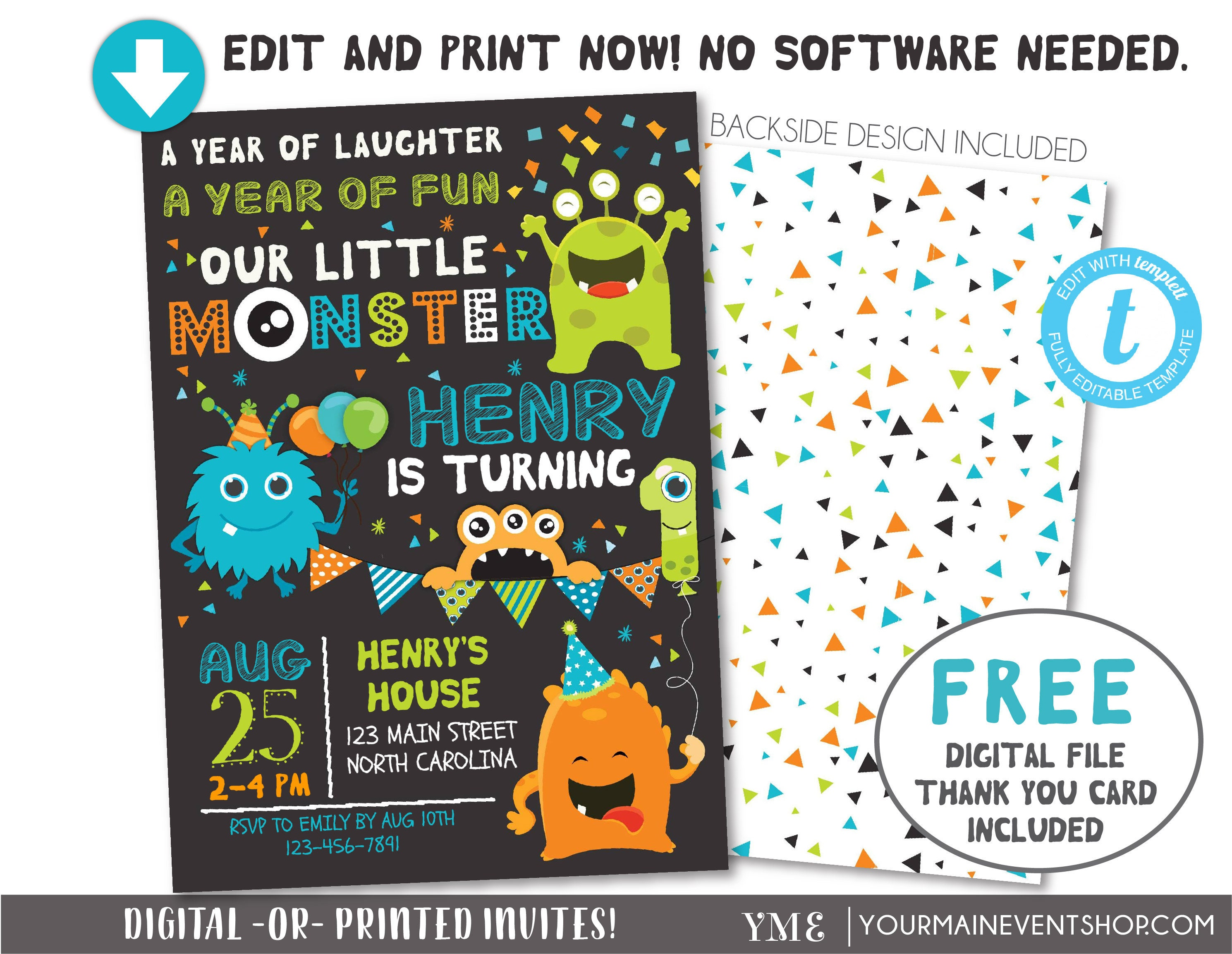 Monster Invitation Monster Birthday Invitation Monster Etsy