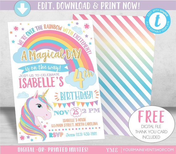 Unicorn Birthday Invitation Unicorn Invitation Rainbow
