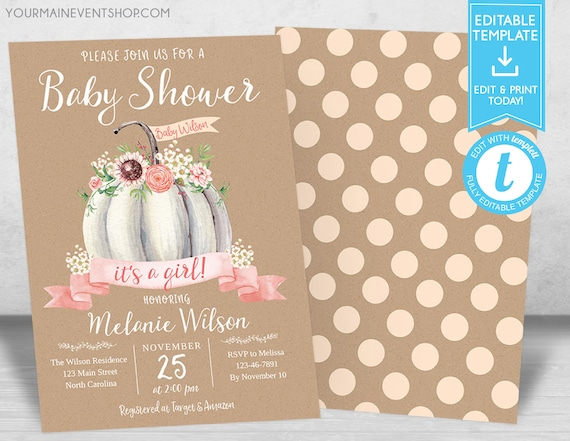 Pumpkin Baby Shower Invitation, Girl Fall Shower Invite, Little Pumpkin, Autumn Floral Baby Shower, Editable template, Instant Download