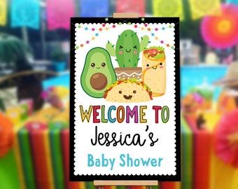 Fiesta Taco Welcome Sign Baby Shower Edit Yourself Editable Poster Digital File, Avacado, Burrito, Cactus